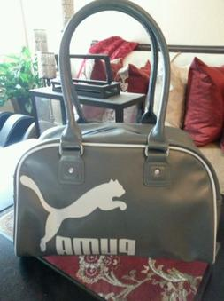 Puma Travel/ Gym Gray&White Tote Bag With Silver Hardware