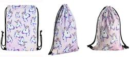Jom Tokoy Unicorn Drawstring Bags For Girls Soft Polyester G