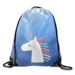 Unicorn Face Print Drawstring Backpack Rucksack Shoulder Bag