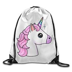 Unicorn Kawaii Unicornio Print Drawstring Backpack Rucksack