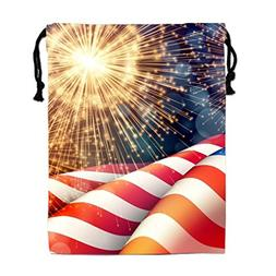 Us Flag Fireworks Drawstring Bags Waterproof Party Favors Po