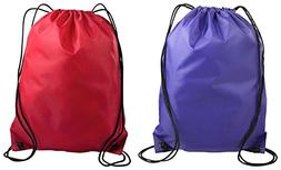 Liberty Bags Value Drawstring Backpack Bags Set_Purple & Red