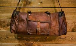 Vintage Brown Leather Bag duffel Travel Men Retro Gym Luggag