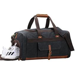 S-ZONE Vintage Canvas Geniune Leather Trim Travel Tote Duffe