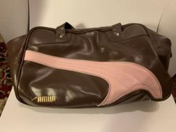 Puma Vintage Gym Duffle Bag Brown And Pink Faux Leather