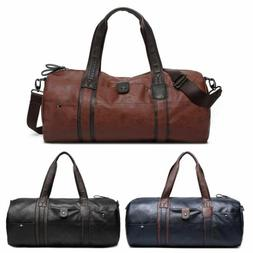 Vintage Men Leather Travel Duffle Gym Bag Overnight Weekend