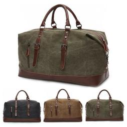 Vintage Men Travel Duffle Bag Luggage Canvas Gym Weekend Ove