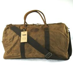 Newhey Vintage Waxed Canvas Leather Duffle Gym Bag