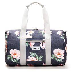 Vooray Roadie 23L Small Gym Duffel Bag, Rose Floral Navy