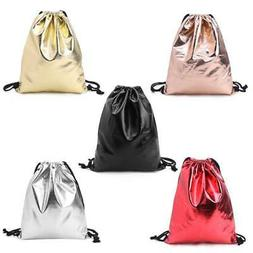 Waterproof Drawstring Backpack Bag PU Leather Women Sport Gy