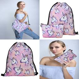 Waterproof Drawstring Bag For Girls Print Backpack Travel Gy