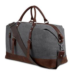 Weekender Overnight Bag Canvas Genuine Leather Travel Duffel
