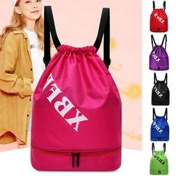 Women Sports Drawstring Backpack Clothes Gym Sackpack Waterp