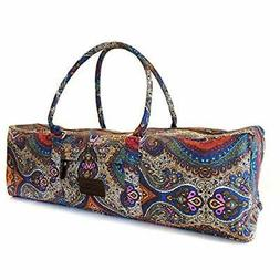 Yoga Mat Duffel Bag Patterned Canvas with Pocket and Zipper